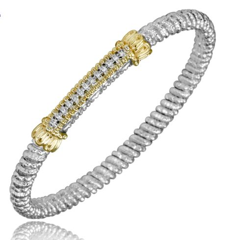 Sterling Silver And 14k Yellow Gold Bracelet By ALWAND VAHAN With 13 Diamonds by Vahan