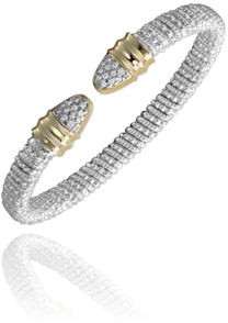 Sterling Silver & 14 Karat Yellow Gold 6mm Bracelet by ALWAND VAHAN With 24 Diamonds by Vahan