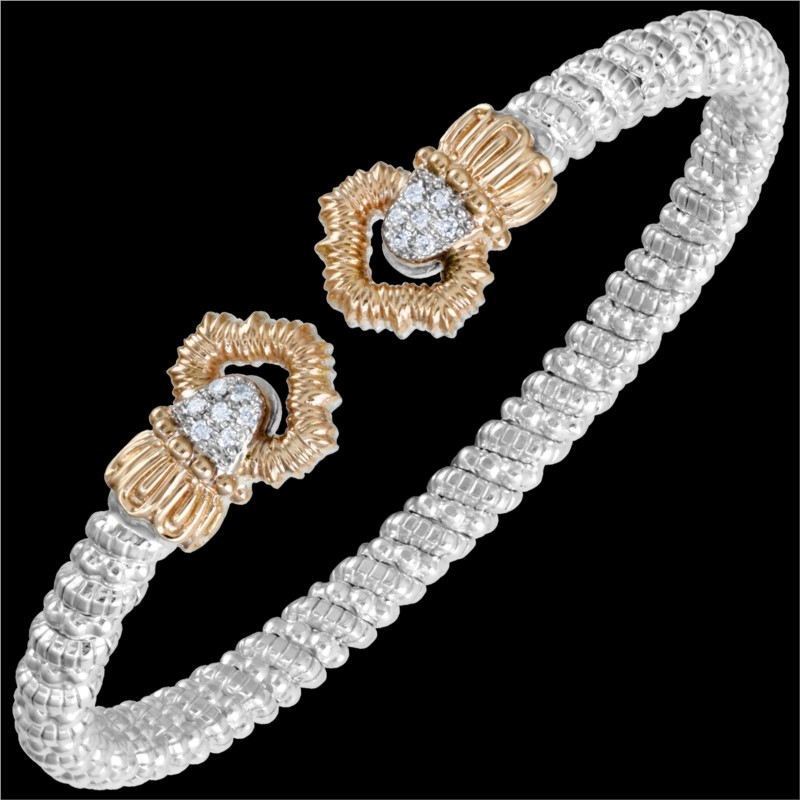 Sterling Silver & 14 Karat Rose Gold 4mm Bracelet by ALWAND VAHAN With 14 by Vahan