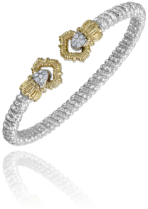 Sterling Silver & 14 Karat Yellow Gold 4mm Bracelet by ALWAND VAHAN With 14 Diamonds by Vahan
