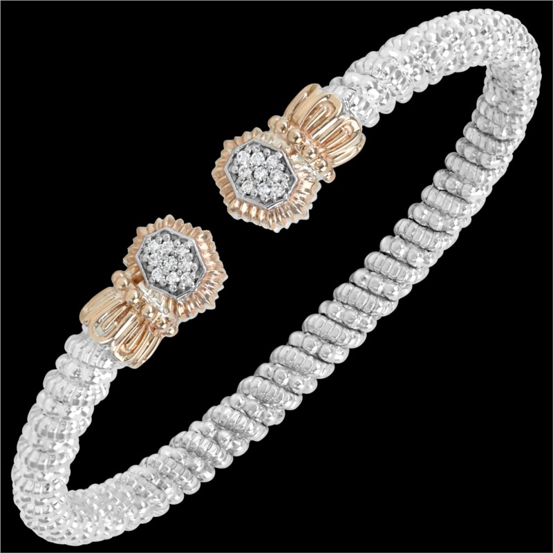 Sterling Silver & 14 Karat Rose Gold 4mm Bracelet by ALWAND VAHAN With 20 Diamonds by Vahan