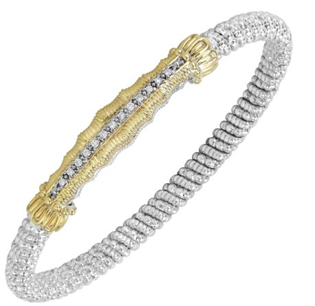Sterling Silver & 14 Karat Yellow Gold 4mm Bracelet by ALWAND VAHAN With 13 Diamonds by Vahan