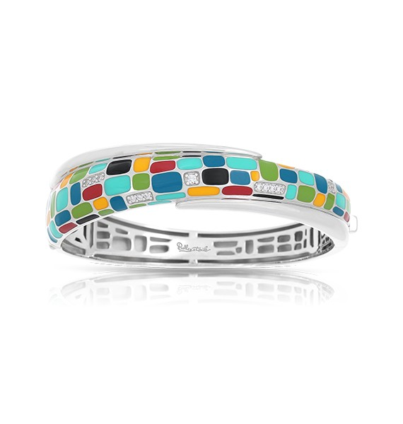 Sterling Silver Mosaica Bracelet With Multi-Color Enamel & Cubic Zirconias by Belle Etoile
