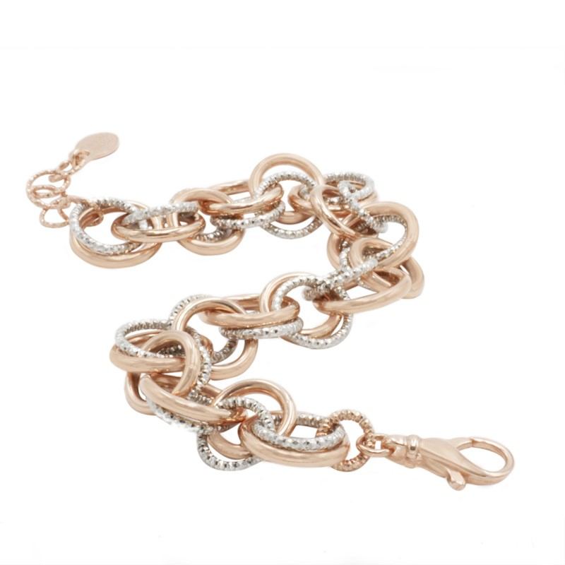 Sterling Silver And Rose Gold Plated Bracelet by Frederic Duclos