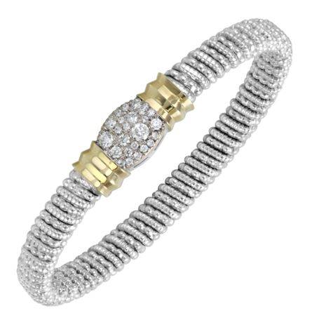 Sterling Silver & 14 Karat Yellow Gold 6mm Bracelet by ALWAND VAHAN With 25 Diamonds by Vahan