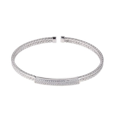 Sterling Silver Mesh Cuff Bracelet With CZs by Charles Garnier