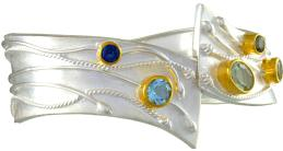 Sterling Silver and 22K Gold Vermeil Bracelet with Multiple Gemstones by Michou