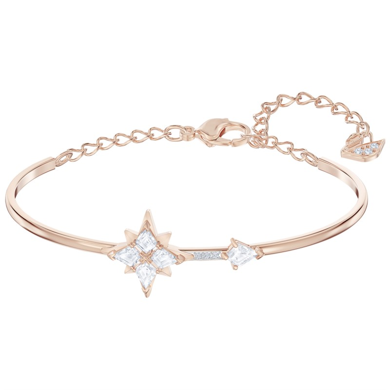 Swarovski Symbolic Bangle, White, Rose-gold tone plated by Swarovski