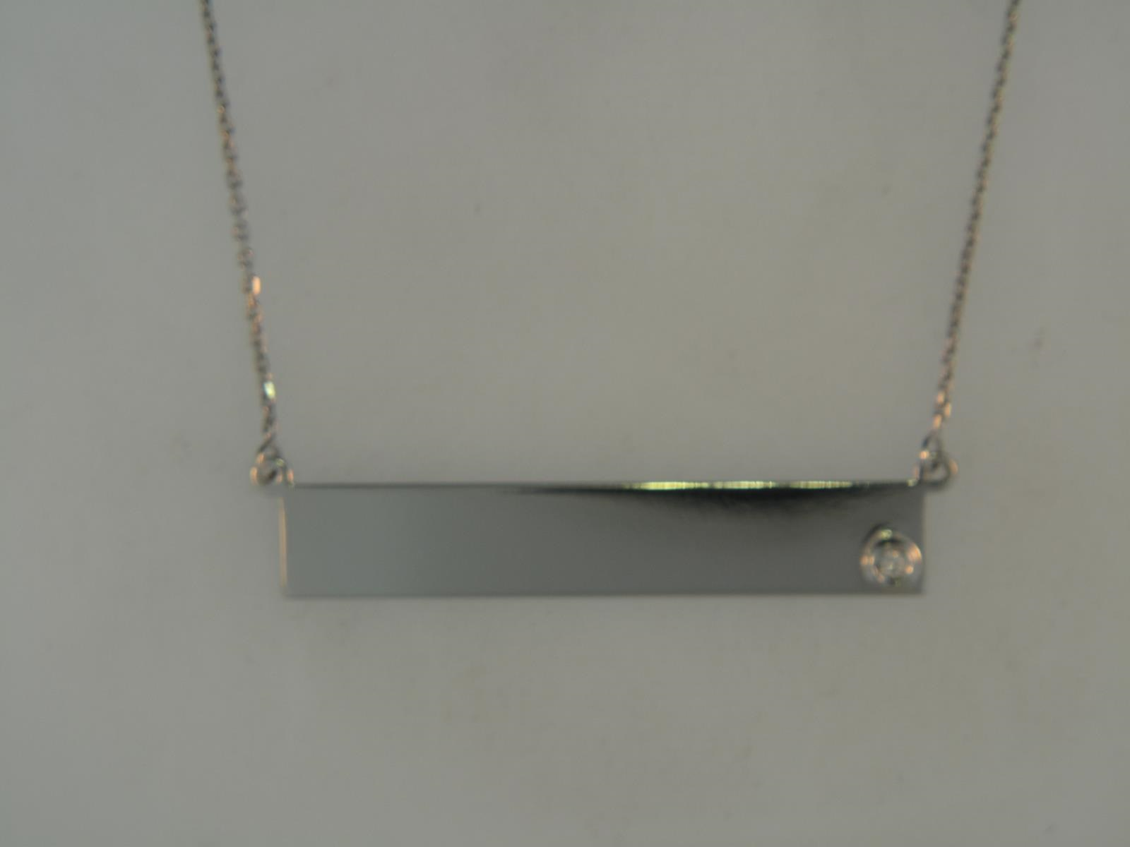 Sterling Silver Bar Nameplate Necklace With One Round CZ by Graduation Gift Ideas