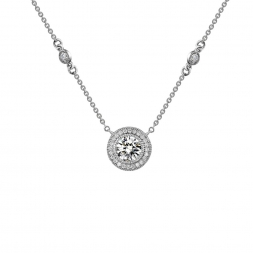 Sterling Silver Bezel Set CZ Necklace With CZ Accents by Lafonn Jewelry