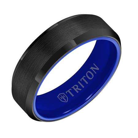 Gents Black Tungsten Band With Blue Ceramic Inside by Frederick Goldman