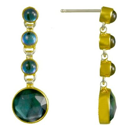 Michou Earrings with Blue Gemstone
