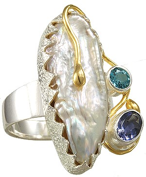 Michou Spring Frost Ring with Pearl and Gemstones