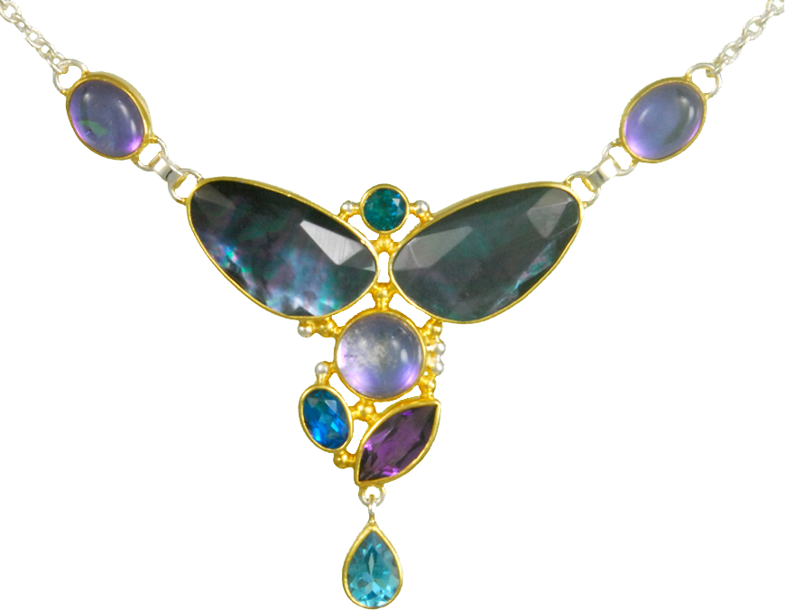 Michou Necklace with Gemstones Blue and Purple